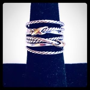 David Yurman 6 Double X Crossover Ring SS 18k